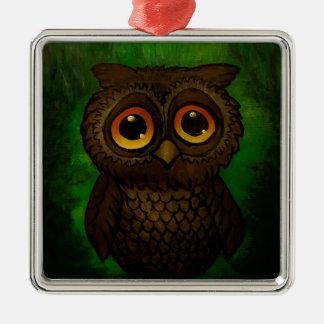 Sad owl eyes Silver-Colored square ornament