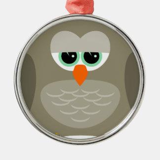 Sad owl Silver-Colored round ornament