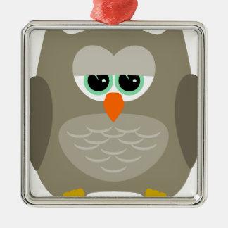 Sad owl Silver-Colored square ornament