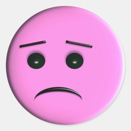 Sad Pink Smiley Face Round StickerPink Sad Face