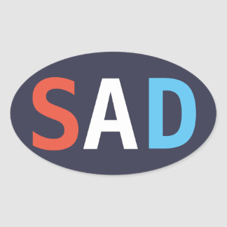 """SAD """"red white and the blues"""" oval sticker"""