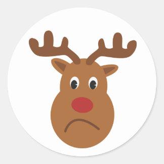 Sad Reindeer Christmas Round Sticker, Glossy Classic Round Sticker