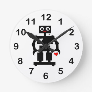 Sad Robot With Oily Tear and Broken Heart Round Clock