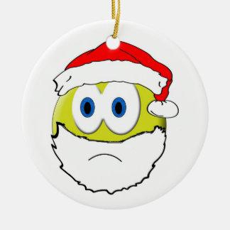Sad Santa Round Ceramic Ornament