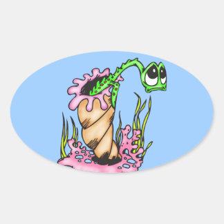 Sad Sea Creature Oval Sticker
