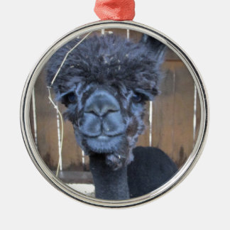 Sad Shaved Alpaca Silver-Colored Round Ornament