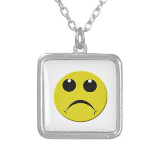 sad smiley face silver plated necklace