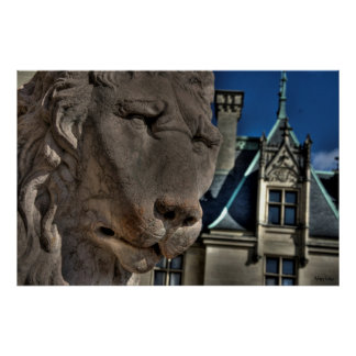 Sad Stone Lion Poster