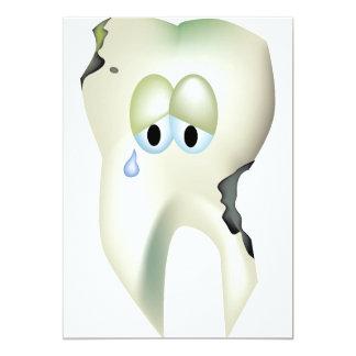 Sad Tooth Cavity Cartoon Funny Dentist Card