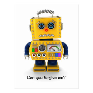 Sad toy robot postcard