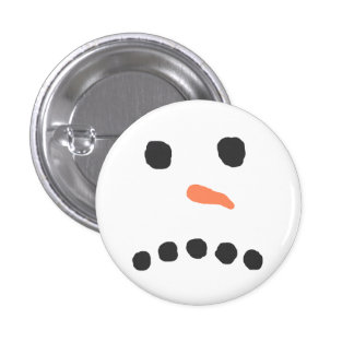 Sad Unhappy Snowman Face Bah Humbug 1 Inch Round Button