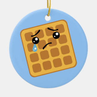 Sad Waffle Round Ceramic Ornament