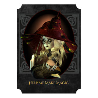 Sad Witch Halloween Party Invitation
