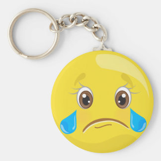 Sad With Tears Emoticon Keychain