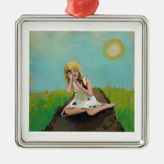 Sad woman finds comfort in soil earth dirt Silver-Colored square ornament