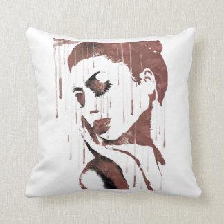 Sad woman throw pillow