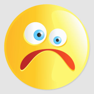 Sad Yellow Smilie Round Sticker
