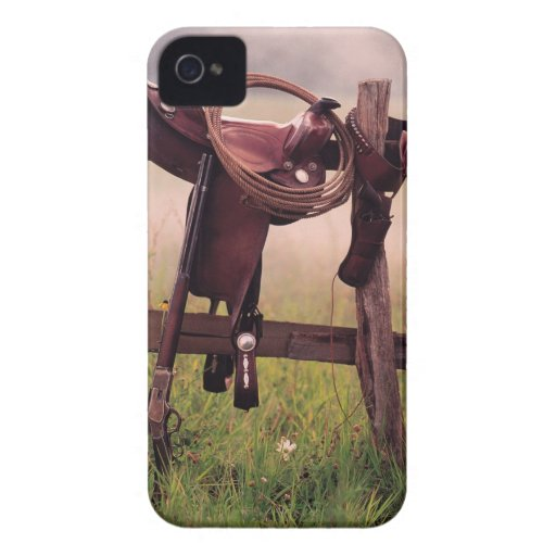 Saddle and lasso on fence Case-Mate iPhone 4 cases
