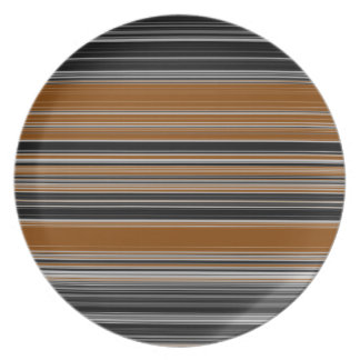 Saddle Brown and Black Striped Pattern Plate