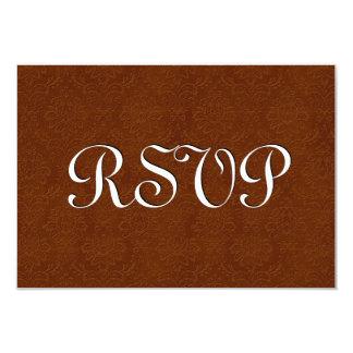 Saddle Brown RSVP Vintage Damask Wedding S217 Card