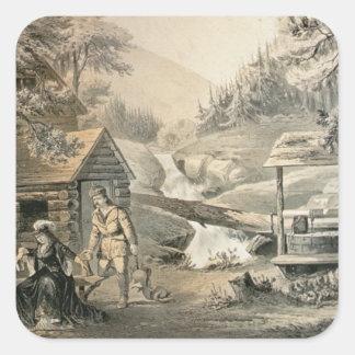 'Saddle Mending', Poster for 'Davy Crockett' starr Square Sticker