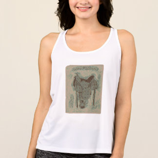 Saddle Up And Ride - Beige Tank Top