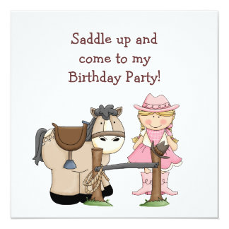 "Saddle Up Birthday Party Invitation 5.25"" Square Invitation Card"