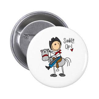 Saddle Up! Cowboy Stick Figure Button
