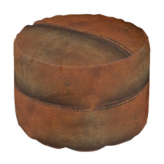 Saddle Up Tan Faux Leather Pouf