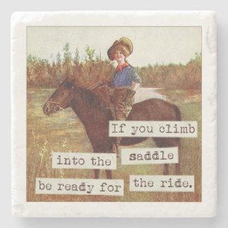 Saddle Up Vintage Cowgirl and Horse Stone Coaster