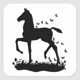 Saddlebred Foal Silhouette Butterflies Square Sticker