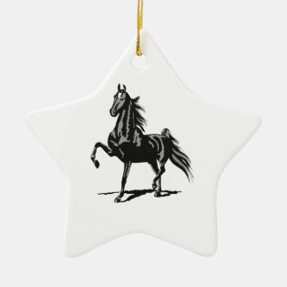 SADDLEBRED HORSE CERAMIC STAR ORNAMENT