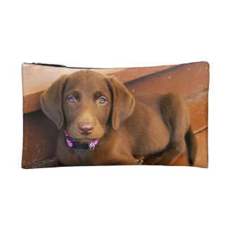 Sadie the Chocolate Labradoodle Makeup Pouch