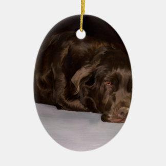 Sadie the Lab Ceramic Oval Ornament