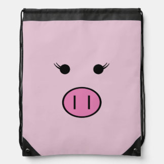 Sadie the Pink Pig Drawstring Bag