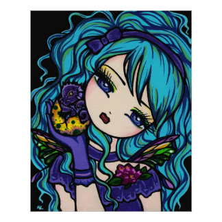Sadie's Dragon Fairy Princess Dragon Fantasy Art Poster