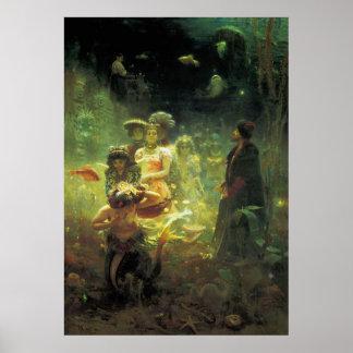 Sadko in the Underwater Kingdom by Ilya Repin Poster