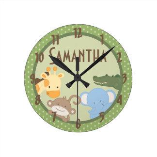 Safari Adventure Jungle Zoo Personalized Clock