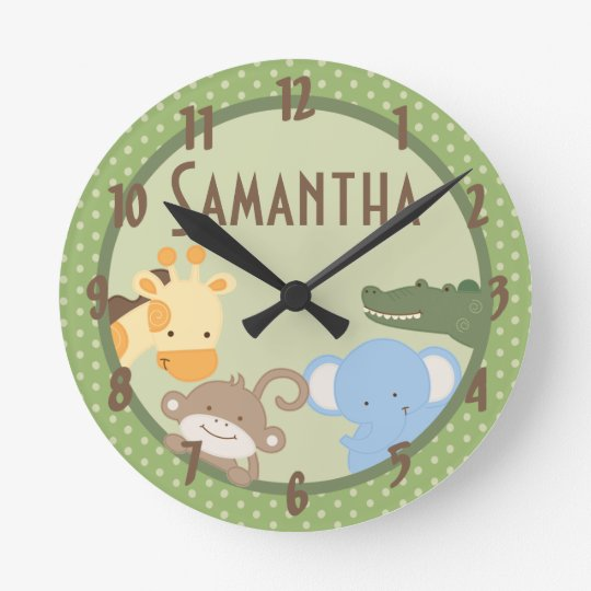 Safari Adventure Jungle Zoo Personalized Clock