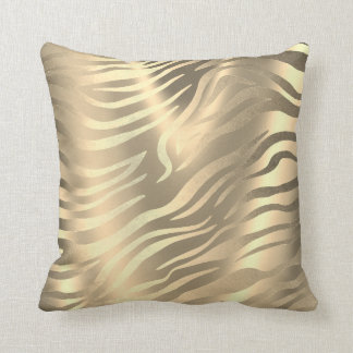 Safari African Gold Zebra Animal Skin Sepia Miami Throw Pillow