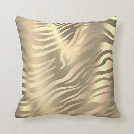 Safari African Gold Zebra Animal Skin Sepia Miami Throw Pillow