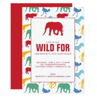 Safari Animal Boy Birthday Party Invitation