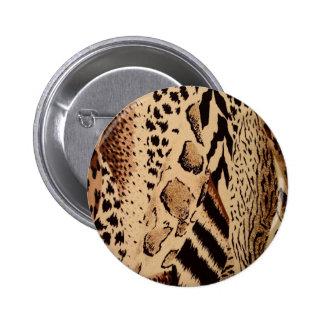 Safari animal fabric print 2 inch round button