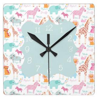 Safari Animal Nursery Print Square Wall Clock