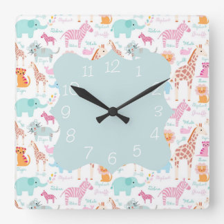 Safari Animal Nursery Print Wallclock