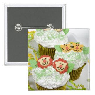 Safari animal party cupcakes. 2 inch square button