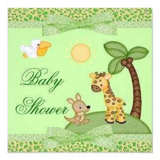 Safari Animals Cheetah Print Baby Shower Card
