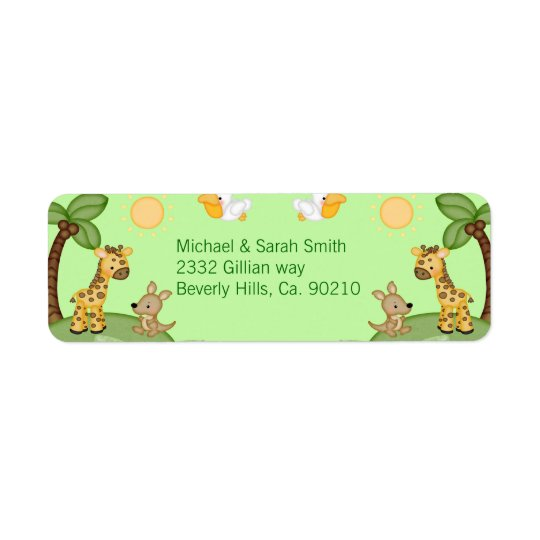 Safari Animals Cheetah Print Baby Shower Return Address Label