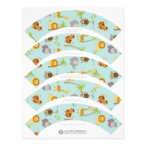 Safari Animals Cupcake Wrappers Letterhead Template Zazzle