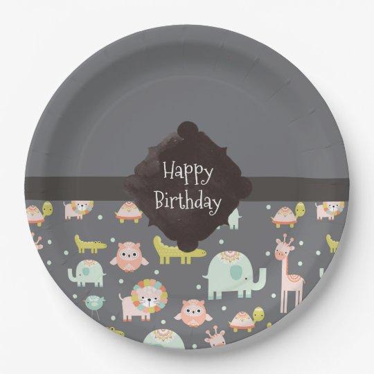 Safari Animals Pattern Nursery Art Happy Birthday Paper Plate